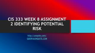 CIS 333 WEEK 8 ASSIGNMENT 2 IDENTIFYING POTENTIAL RISK