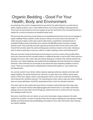 Organic Bedding - Good For Your  Health, Body and Environment