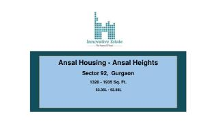 Ansal Heights | Innovative Estate | 9811231177