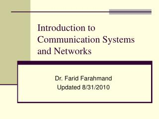 Introduction to Communications and Networks