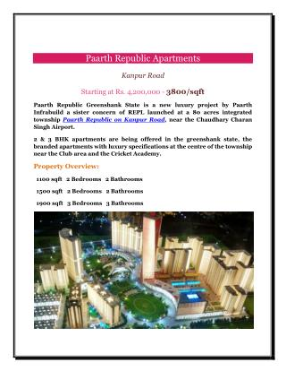 Paarth Republic Apartments- A Beautiful Township on Kanpur Road lucknow