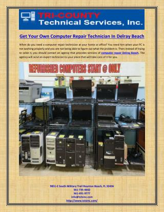Get Your Own Computer Repair Technician In Delray Beach