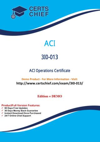 3I0-013 Latest Certification Practice Test
