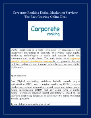 Corporate Ranking Digital Marketing Services | corporateranking