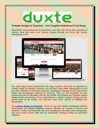 Website Design In Tanzania – Get Complete Solutions From Duxte