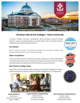 Christian Liberal Arts Colleges - Union University