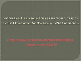 Software Package Reservation Script / Tour Operator Software – i-Netsolution