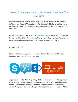 Microsoft announces launch of Microsoft Teams for Office 365 users