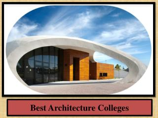 Best Architecture Colleges