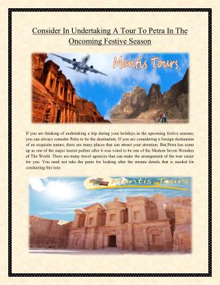 Consider In Undertaking A Tour To Petra In The Oncoming Festive Season
