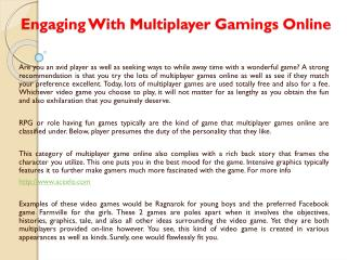 Engaging With Multiplayer Gamings Online