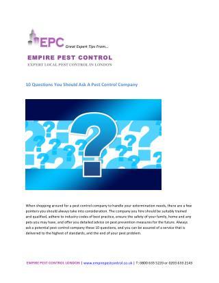 10 Questions You Should Ask A Pest Control Company