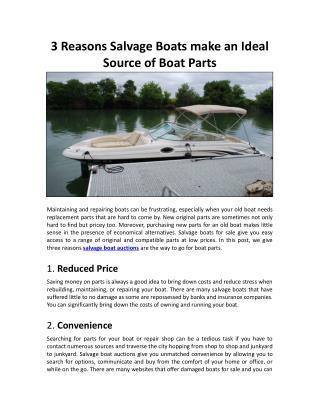 3 Reasons Salvage Boats make an Ideal Source of Boat Parts