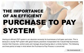 The importance of an efficient purchase-to- pay system