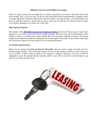 Mistakes You Can Avoid While Car Leasing