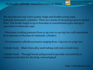 Hydraulic cylinder manufacturers in Delhi