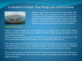 A Vacation in Dubai: Few Things you need to Know
