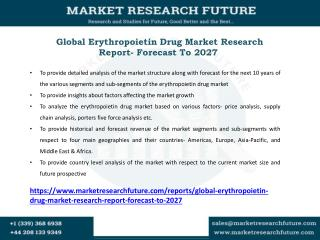 Erythropoietin Drug Market Research Report- Forecast To 2027