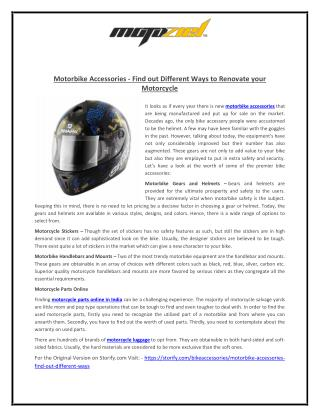 Motorbike Accessories - Find out Different Ways to Renovate your Motorcycle