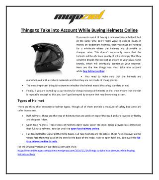 Things to Take into Account While Buying Helmets Online