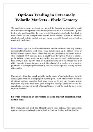 Options Trading in Extremely Volatile Markets - Ebele Kemery