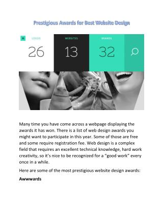 Prestigious Awards for Best Website Design