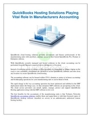 QuickBooks Hosting Solutions Playing Vital Role In Manufacturers Accounting