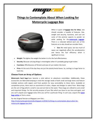 Things to Contemplate About When Looking for Motorcycle Luggage Box