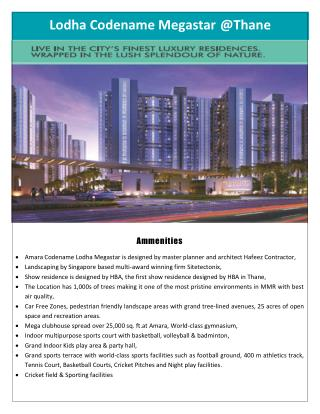 Buy your dream home at Lodha Codename Megastar Thane