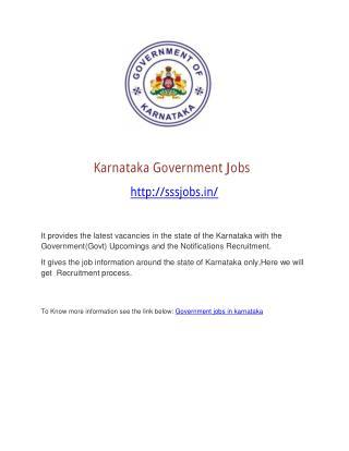 Karnataka govt jobs
