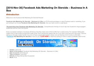 Facebook Ads Marketing On Steroids