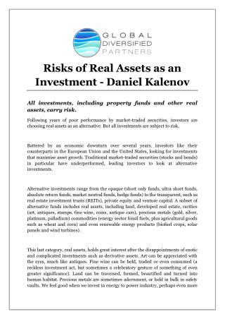 Risks of Real Assets as an Investment - Daniel Kalenov
