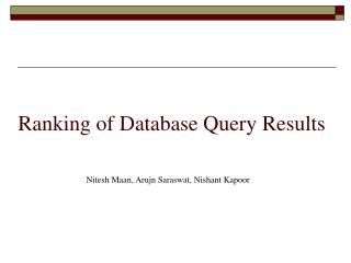Ranking of Database Query Results