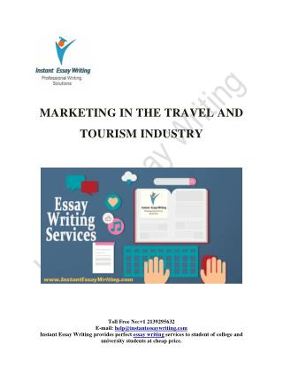 "A free Sample On ""Marketing in the travel and tourism industry"""