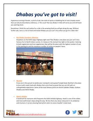 Dhabas you've got to visit!