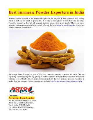 Best Turmeric Powder Exporters in India