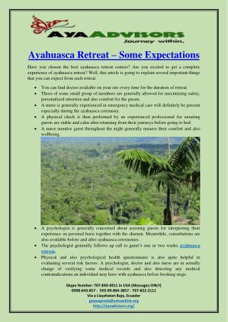Ayahuasca Retreat – Some Expectations