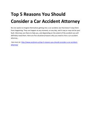 Top 5 Reasons You Should Consider a Car Accident Attorney