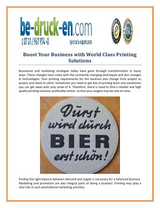 Boost Your Business with World Class Printing Solutions
