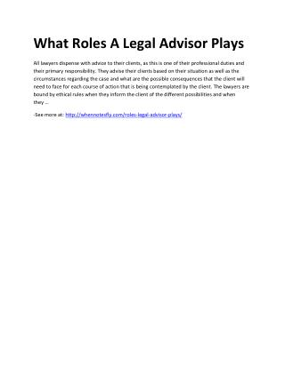 What Roles A Legal Advisor Plays