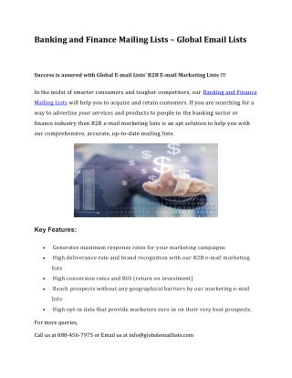 Banking and Finance Mailing Lists – Global Email Lists
