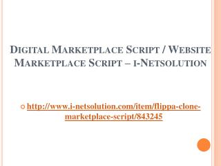 Digital Marketplace Script / Website Marketplace Script – i-Netsolution
