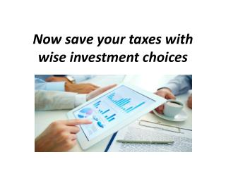 Now save your taxes with wise investment choices…