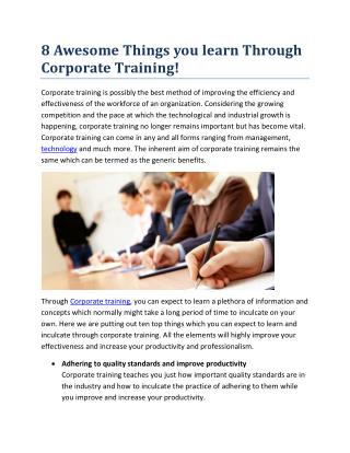 8 Awesome Things you learn Through Corporate Training!