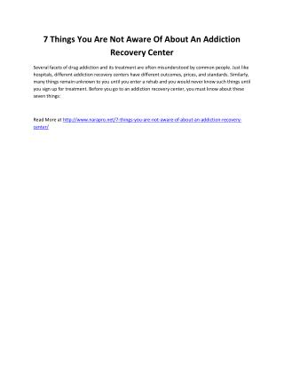 7 Things You Are Not Aware Of About An Addiction Recovery Center