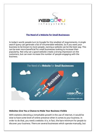 The Need of a Website for Small Businesses