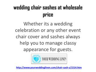 wedding chair sashes at wholesale price