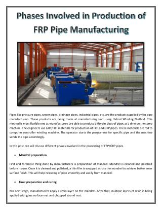 Phases Involved in Production of FRP Pipe Manufacturing