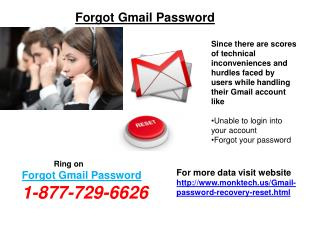 Gmail Password Recovery Process @1-877-729-6626 – What You Ought To Know