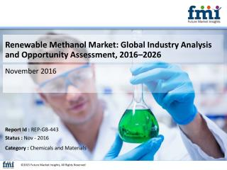 Renewable Methanol Market to be Valued at US$ 133.3 Mn By 2016